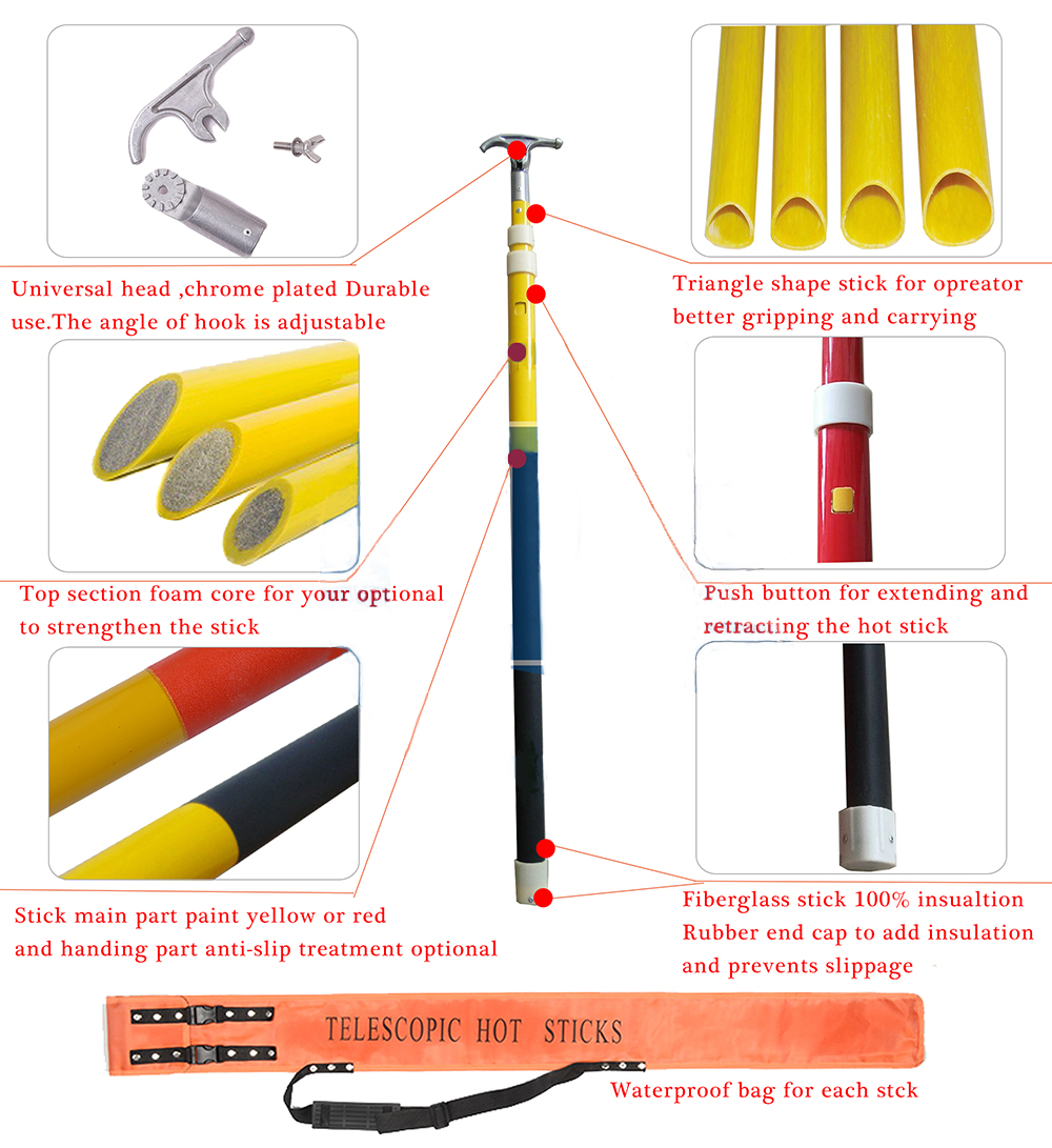 FRP fiberglass insulated adjustable Telescopic Hot Stick/Link Stick/Operating Rod